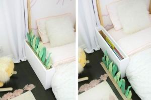 Скрытый прикроватный шкафчик для книг и журналов: мастерим деревянный каркас и украшаем суккулентами из фетра