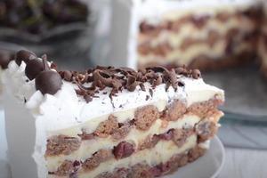 Праздничный двухцветный торт с вишней и кремом: бисквит делается без яиц, а ягода подойдет и замороженная