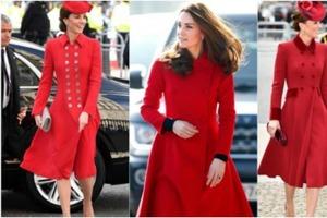 Красное пальто - это королевский стиль: как и Диана, Кейт Миддлтон тоже не изменяет этому правилу