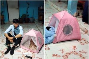 Таец думал, что отхватил на распродаже хорошую двухместную палатку, но в итоге смог залезть туда только головой