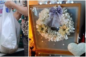 Пара пакетов и старая вешалка: женщина сделала красивый рождественский венок, не потратив ни копейки