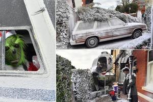 Соседи удивились, обнаружив в палисаднике вертолет: мужчина воссоздал сцены из рождественских фильмов во дворе, чтобы собрать деньги для бла