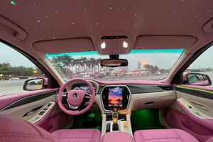 Женщина решила сделать тюнинг своего автомобиля в розовых тонах и добавила «звездное небо» (фото)