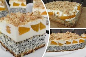 """Бисквитно-маковый торт с консервированными персиками """"Вдохновение"""": такой десерт в магазине точно не купишь"""