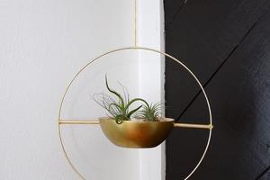 Взяла деревянную салатницу, железный обруч и сделала стильное кашпо: учимся создавать декор из подручных материалов
