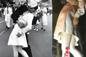 Моряк целует медсестру - романтика? Надпись, появившаяся на скульптуре, заставила взглянуть на этот эпизод с другой стороны