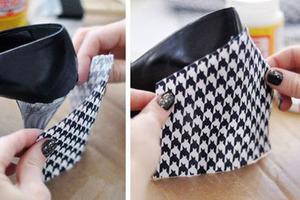 Второй шанс туфлям: женщина использовала кусок красивой ткани, ножницы и клей