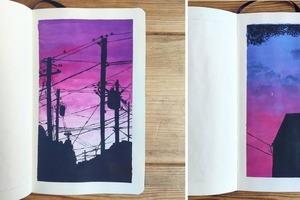 Мужчина бросил себе вызов – рисовать гуашью все, что он видел каждый день: некоторые из его работ