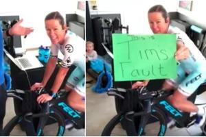 «Это жизнь, и такие вещи случаются!»: спортсменка почти выиграла виртуальную велогонку, но помешал муж