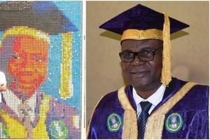 Студент Университета Бенина создал портрет своего ректора: для этого ему понадобилось более 6 000 крышек от бутылок