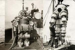 В начале прошлого века люди в гидрокостюмах выглядели очень необычно (мне они напоминают роботов)