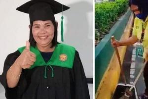 55-летняя филиппинка, мать семерых детей, получила высшее образование, работая дворником