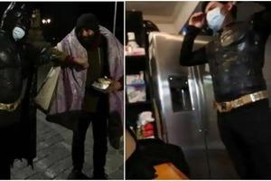 От человека к человеку: незнакомец в костюме Бэтмена ходит по улицам Сантьяго, доставляя еду бездомным