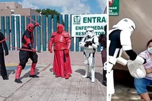 """Группа энтузиастов переодевается в костюмы героев """"Звездных войн"""" и персонажей комиксов, чтобы пожертвовать еду больницам"""