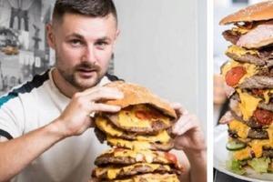Стратегия для привлечения клиентов. Ресторан в Англии готов бесплатно отдать 12-килограммовый гамбургер человеку, который съест его за 50 ми