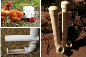 Для облегчения кормления кур на домашней ферме можно сделать недорогую кормушку