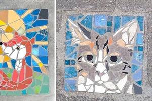 Бельгийская художница украсила порог дома мозаикой. Жители Брюсселя подхватили идею